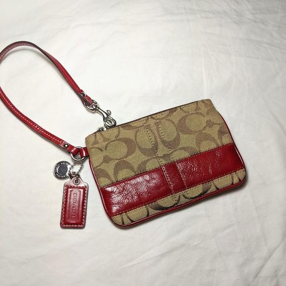 Coach Handbags - Coach wristlet tan lettering red leather st